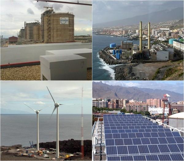 Arriba, regasificadora de Enagás y central de Las Caletillas; y, abajo, parque eólico e instalación fotovoltaica. / S.M.