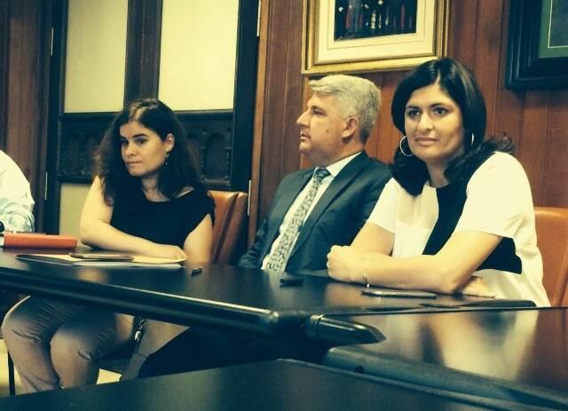 Mari Brito, José Juan Lemes y Carmen Luisa Castro, ayer, durante la reunión en el Cabildo. | DA