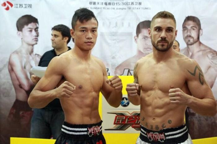 Sittichai y Risco, tras un pesaje celebrado en Bangkok en una gala del Kunlun Fight. / DA