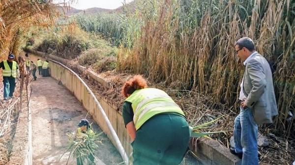 Javier Abreu echando un vistazo a la limpieza de los barrancos. | DA
