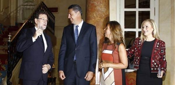 Rajoy en la presentación de la conferencia del candidato del PP a la Generalitat, Xavier García Albiol. | EP
