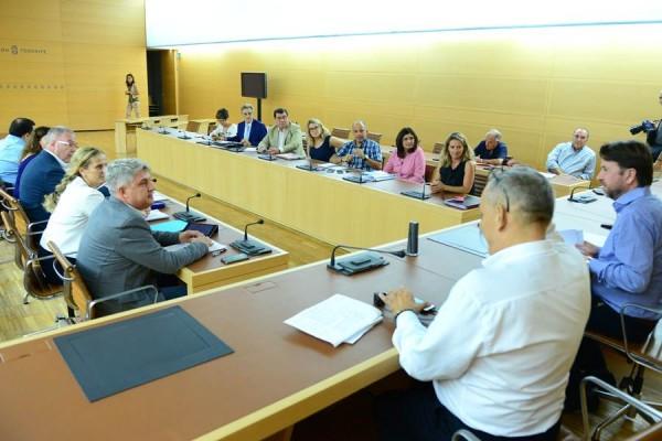 Alcaldes, ediles, secretarios municipales y empresarios, reunidos ante el presidente del Cabildo. | S. MÉNDEZ