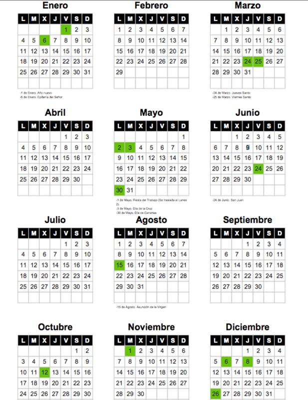 El calendario laboral para 2016 recoge ocho fiestas - Festivos tenerife ...