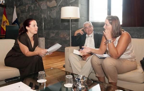 La vicepresidenta Patricia Hernández se reunió ayer con representantes de Feaps Canarias.   DA