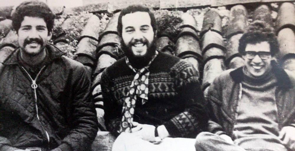 Imagen de 1975, meses antes de la muerte de Franco. De izquierda a derecha, Santiago Pérez, Arcadio Díaz Tejera y Andrés Doreste. | ARCHIVO DE S. PÉREZ