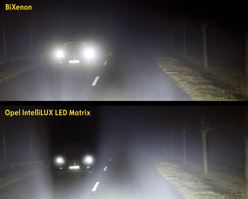 El sistema IntelliLux LED® de Opel ilumina con mayor intensidad y más larga vida útil que los faros convencionales. | DA