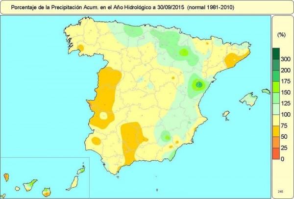 Gráfico de la Aemet del año hidrológico en España (2014 2015). | Aemet