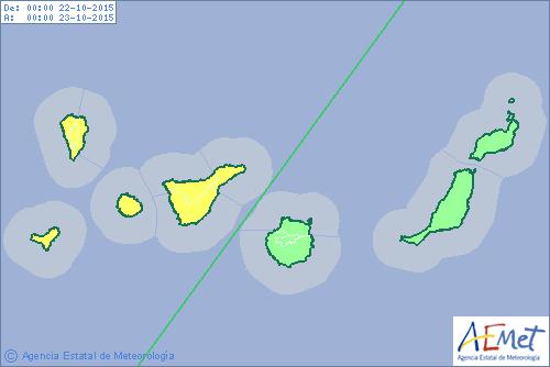 Aviso amarillo por lluvias mañana jueves en la provincia occidental