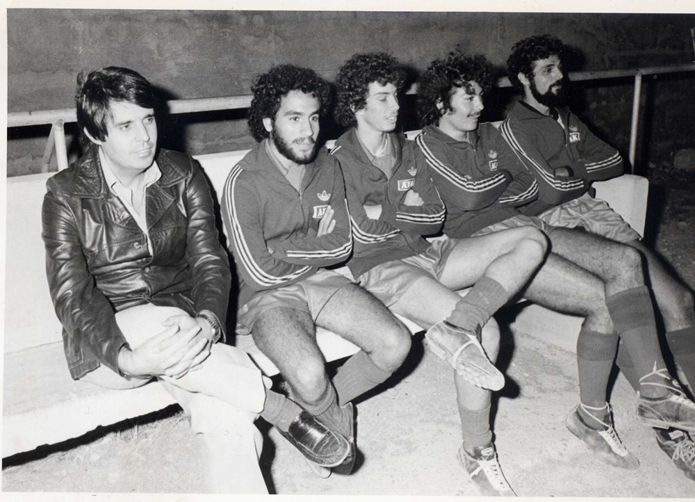 Banquillo del Unión en el partido Toscal-Real Unión (4-1), noviembre de 1980. / DA