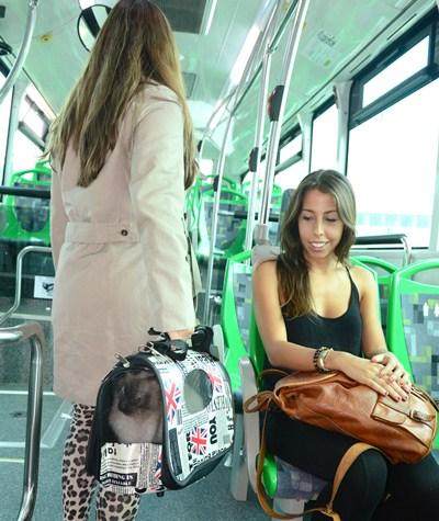 Elena accedió ayer a la guagua junto a su gata Cata, que viajaba dentro del transportín. / SERGIO MÉNDEZ