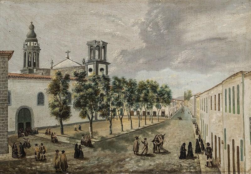 Entorno de la plaza lagunera de la Catedral, una de las obras presentes en la muestra. / DA