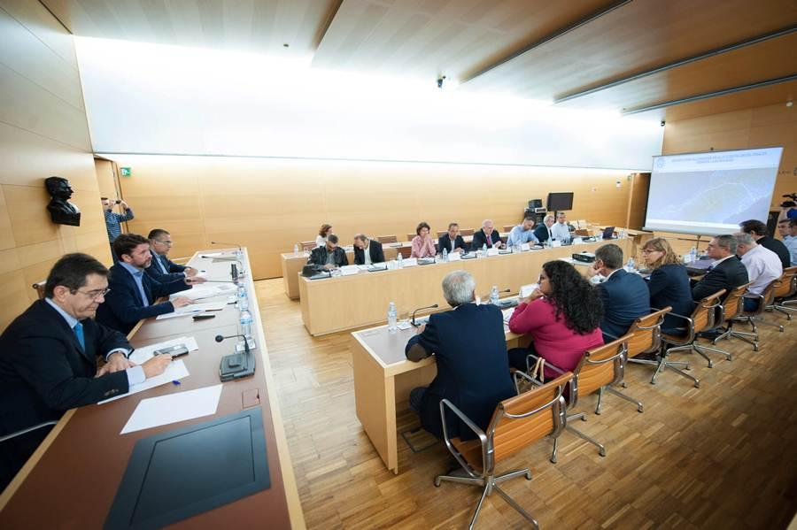 El salón de plenos del Cabildo acogió ayer la reunión para exponer las propuestas. | ANDRÉS GUTIÉRREZ