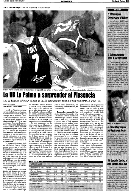eliminatoria de novatos. El  conjunto palmero se medía al Plasencia Galco, otra revelación aquella temporada 03/04 que contaba con un buen patrocinador y una buena plantilla. Eran el cruce de debutantes en la LEB, mientras que la otra eliminatoria la jugarían dos gigantes como CAI Zaragoza y    Bilbao Basket.