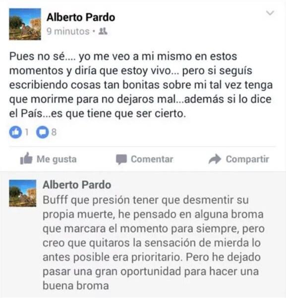 Alberto Pardo desmintió su supuesta muerte en los atentados a través de su perfil en Facebook. / DA