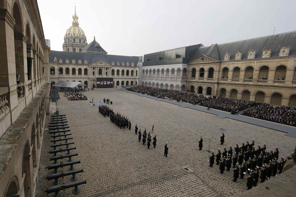 General view of the courtyard during a ceremony to pay a national homage to the victims of the Paris attacks at Les Invalides monument in Paris