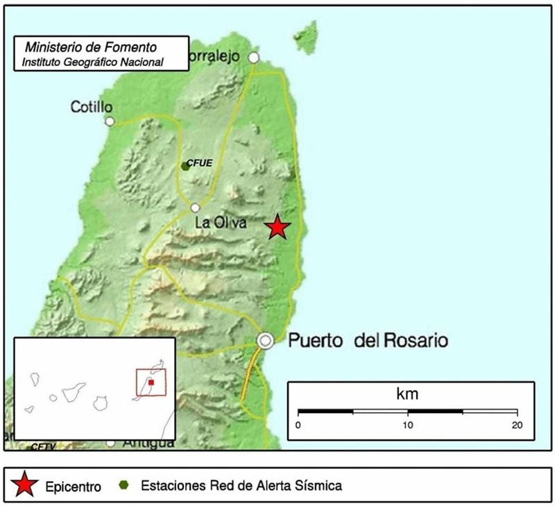 Epicentro del movimiento sísmico en Fuerteventura. / CEDIDA