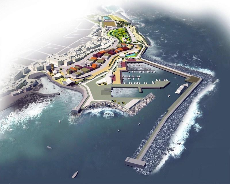 Fotomontaje del proyecto del futuro puerto deportivo y pesquero de Puerto de la Cruz. / DA