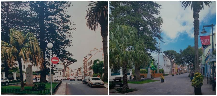 La plaza de la Junta Suprema, en 1988 y en la actualidad, tras la peatonalización. | CEDIDA