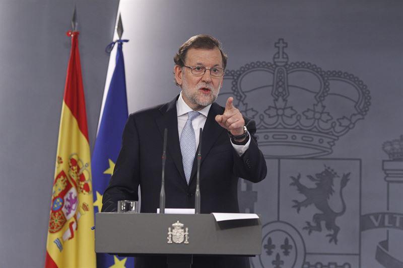 Mariano Rajoy durante una rueda de prensa ofrecida.   EP