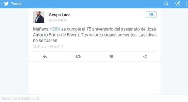 Pantallazo del Tweet publicado por Sergio Luna (Ciudadanos) en 2011. / ELDIARIO.ES