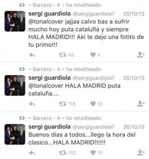 Los polémicos tuits de Sergi Guardiola.   TWITTER