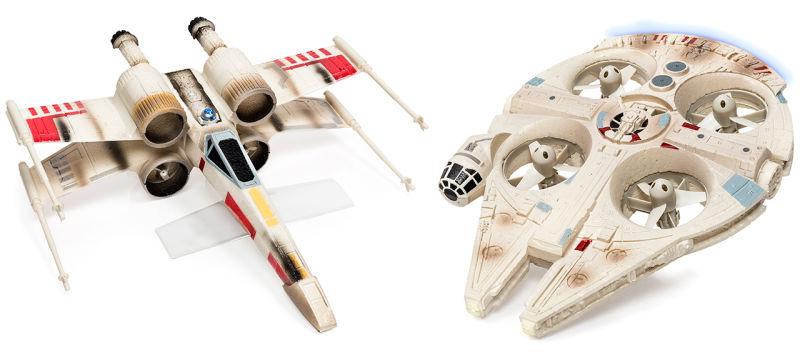 Dron de juguete teledirigido de una X-Wing (69,90 euros) y del Halcón Milenario (99,90 euros).