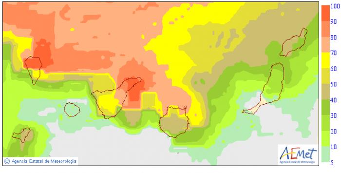 Probabilidad, en tanto por ciento, de que la precipitación total entre las 00 y 24 horas del viernes 29 sea superior o igual a 0,5 litros por metro cuadrado. / AEMET