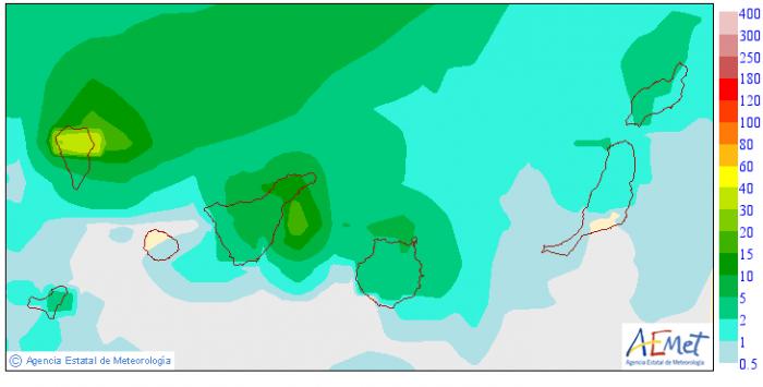 Cantidad máxima de las precipitaciones previstas el viernes 29 en Canarias, según el modelo EPS. / AEMET