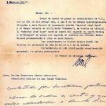 Carta del cónsul de Alemania a Franco, comandante militar de las Islas.