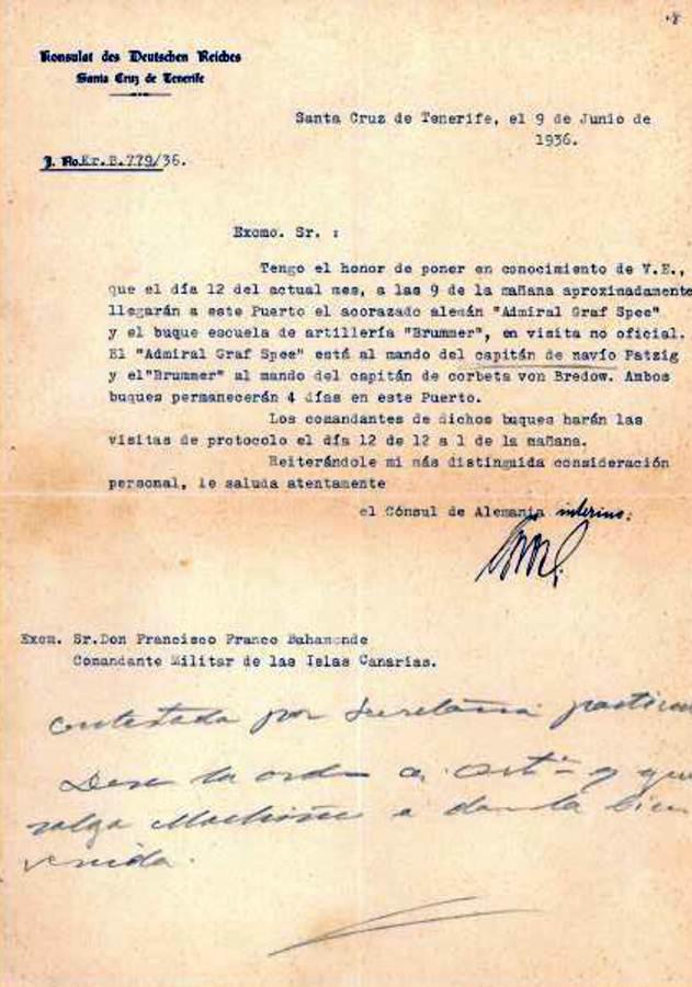 Carta del cónsul de Alemania a Franco