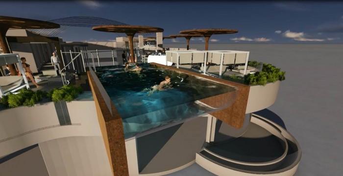 Una piscina a siete plantas de altura, que colgará por fuera de la fachada, será uno de los atractivos. | DA
