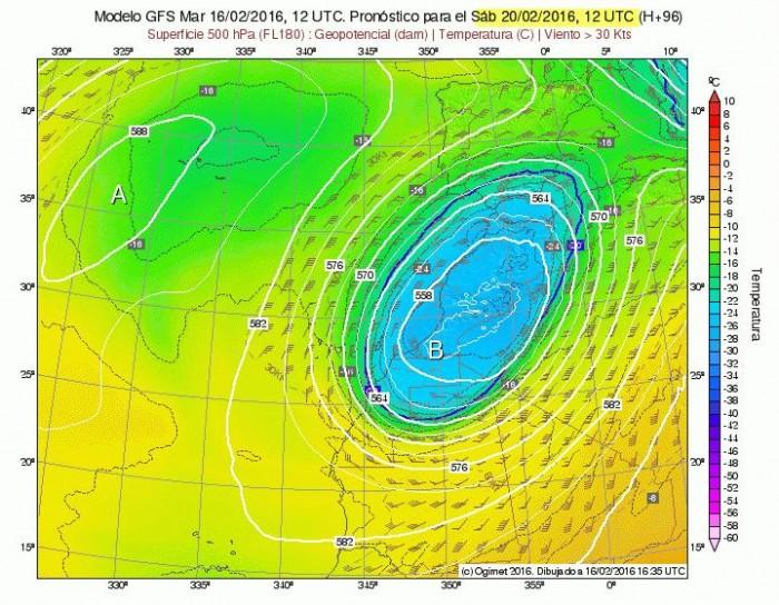 Situación prevista a unos 5.000 metros de altura para el próximo sábado: se refleja en tonos verdes y azules la masa de aire frío de entre 16 y 24 grados bajo cero. / DA