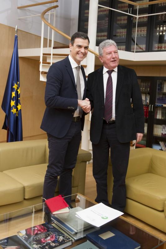 Pedro Quevedo con Pedro Sánchez, durante su reunión en Madrid. / DA