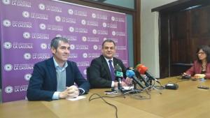 Fernando Clavijo y José Alberto Díaz, ayer en rueda de prensa. / EP