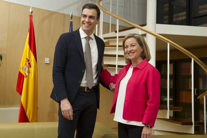 Ana Oramas y Pedro Sánchez, durante la reunión mantenida en Madrid. / DA