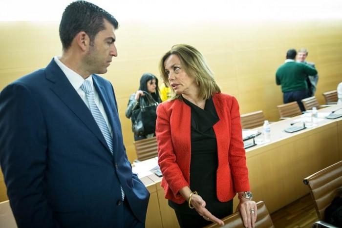 Manolo Domínguez y Ana Zurita, ayer antes de la sesión plenaria de la Corporación insular. | ANDRÉS GUTIÉRREZ