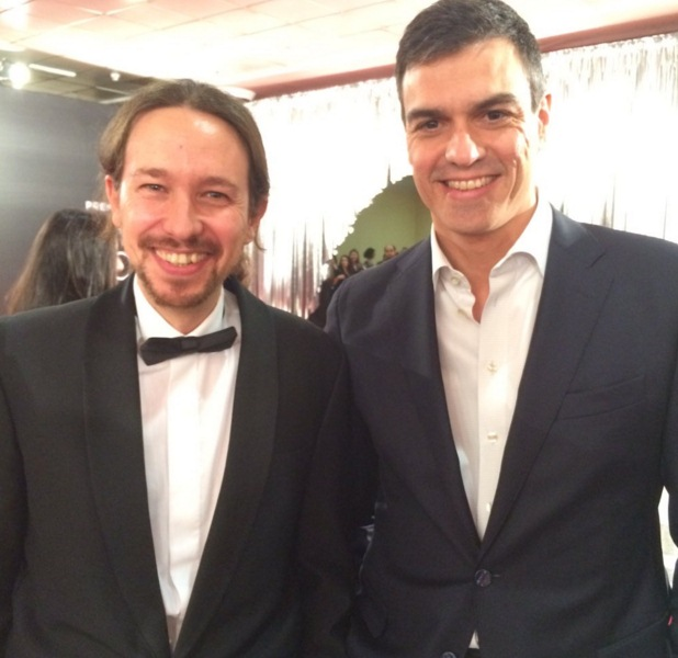 Pedro Sánchez y Pablo Iglesias en los Goya. / DA
