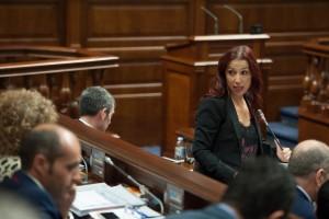 La vicepresidenta del Gobierno de Canarias, Patricia Hernández, en el Parlamento. / FRAN PALLERO