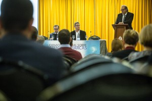 Imagen de la mesa de ponentes en la jornada de patentes y marcas celebrada en Santa Cruz. / Andrés Gutierrez