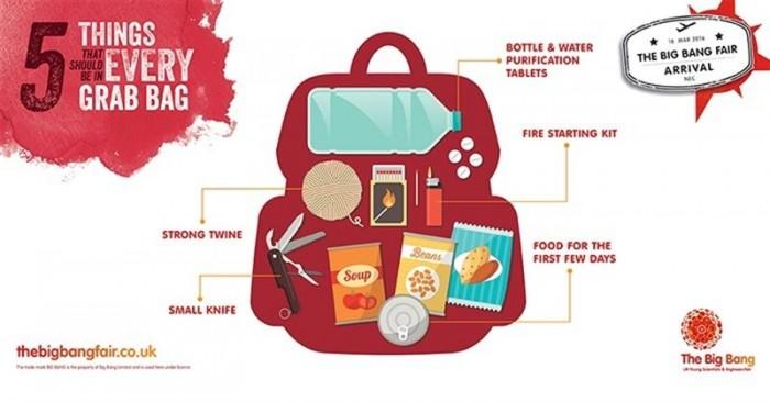 Kit de supervivencia en caso de desastre. /  THEBIGBANGFAIR.CO.UK