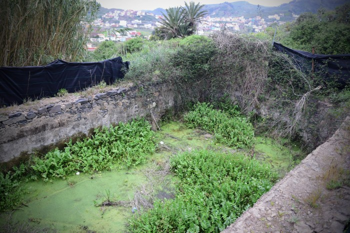La fuente se encuentra en un importante estado de deterioro y abandono y le han robado todas las losas chasneras. / SERGIO MÉNDEZ