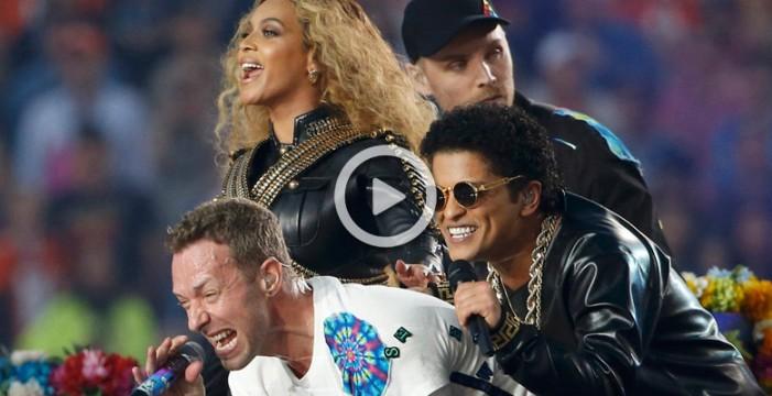 Coldplay, Beyoncé y Bruno Mars en el intermedio de la Super Bowl