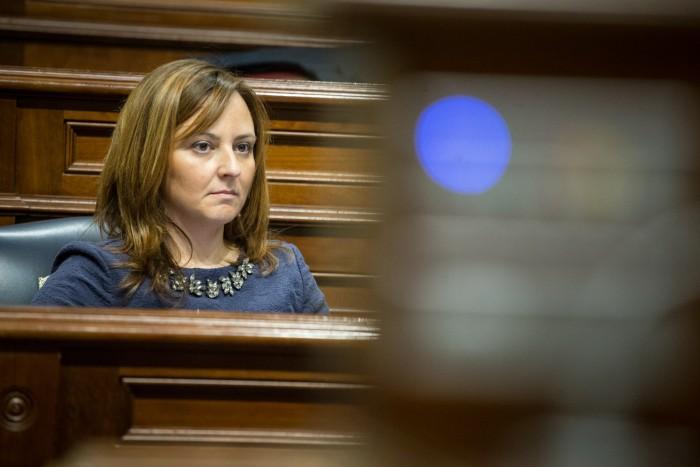 Nieves Lady Barreto, consejera de Sostenibilidad del Gobierno canario, en el pleno del Parlamento. / ANDRÉS GUTIÉRREZ