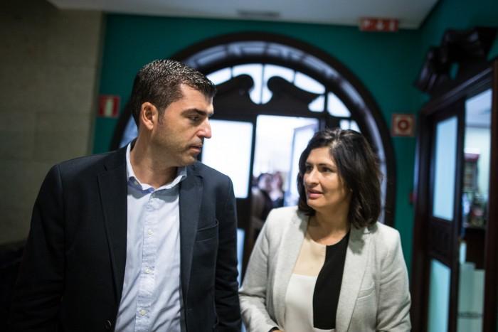 Manuel Domínguez y Luisa Castro, antes de la rueda de prensa / ANDRÉS GUTIÉRREZ