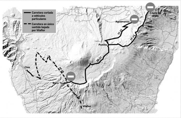 mapa carreteras Teide