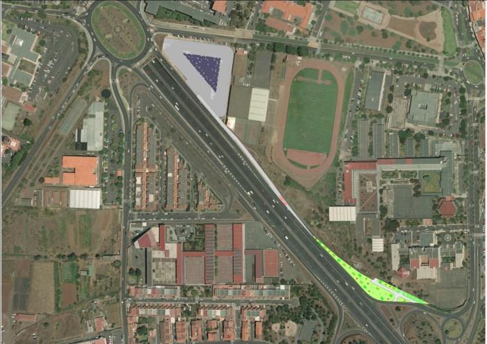 Mapa del nuevo carril bus de acceso a la rotonda de Padre Anchieta. / Cedida por el Cabildo