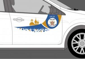 El logo serigrafiado que se podrá ver en los taxis fue diseñado por un joven de la Villa. /DA