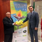Francisco Javier Fernández, presidente de Andalucía Olímpica y consejero de Turismo y Deporte, y Santiago Rodríguez, presidente de ASPROCAN. | DA