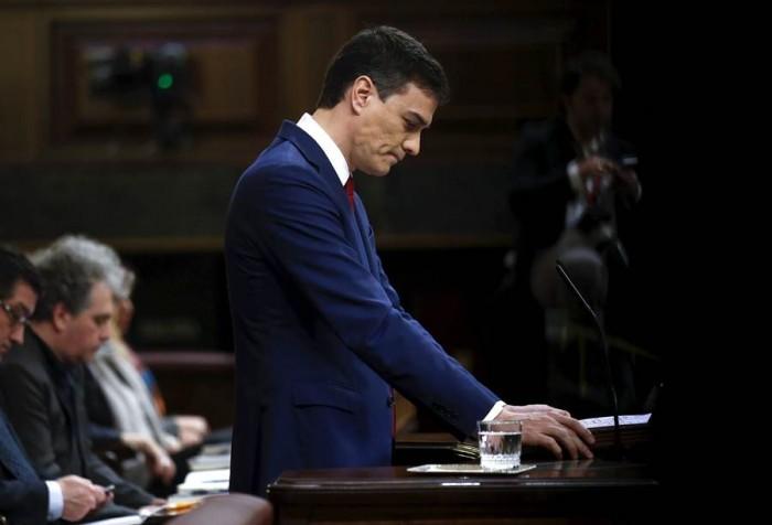 Pedro Sánchez, en el Congreso, durante la primera sesión del Debate de Investidura este miércoles. | REUTERS