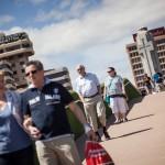 El nuevo enlace peatonal comunica de forma directa la zona de cruceros con la plaza de España. / A. GUTIÉRREZ